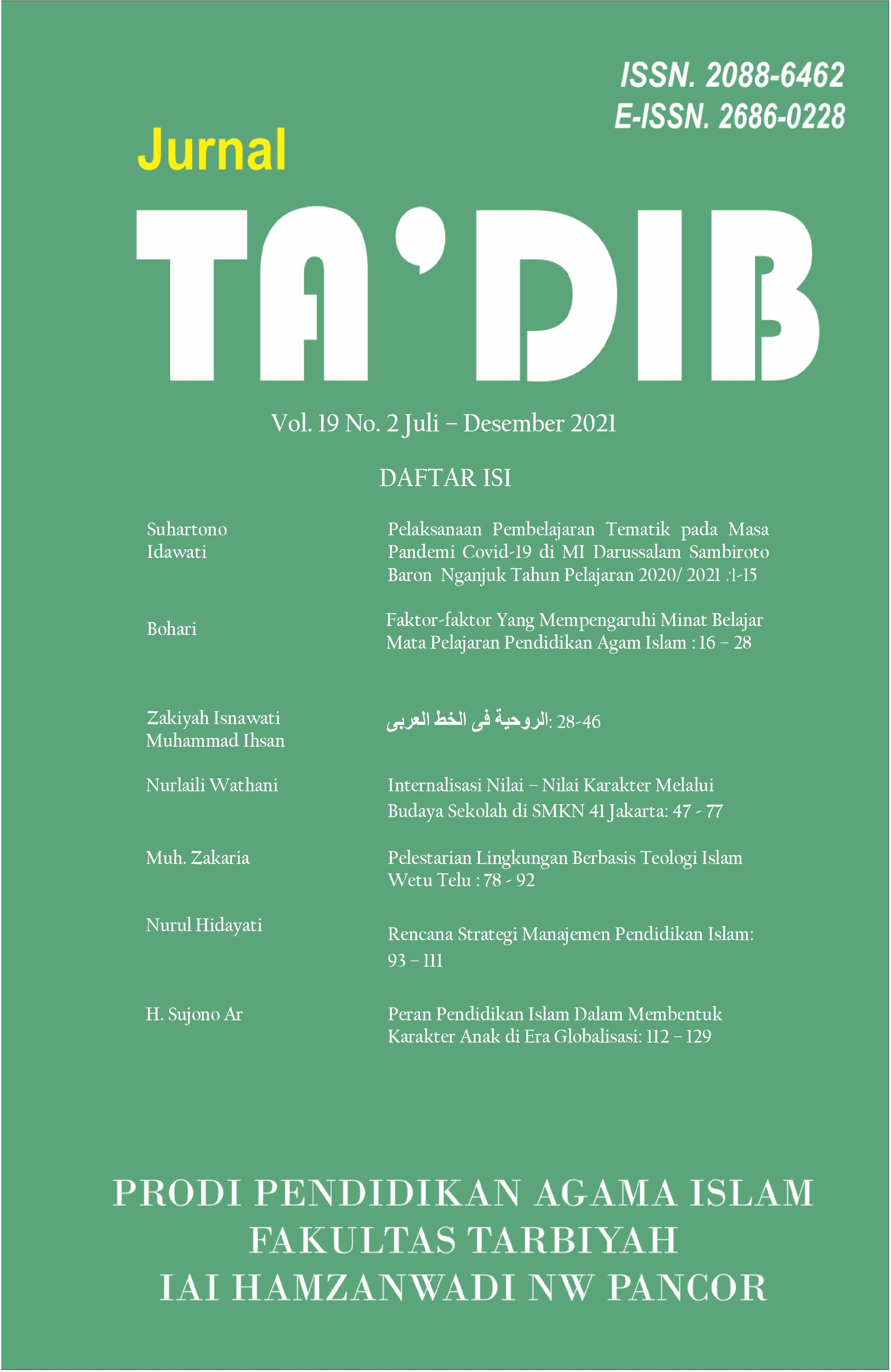 View Vol. 19 No. 2 (2021): Pendidikan Islam dan Isu-isu Sosial